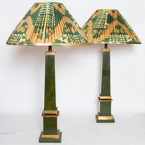 Pair of Faux-Marble Painted Brass Obelisk Lamps