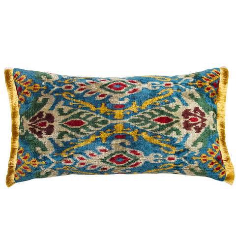 Multicolored Silk Velvet Ikat