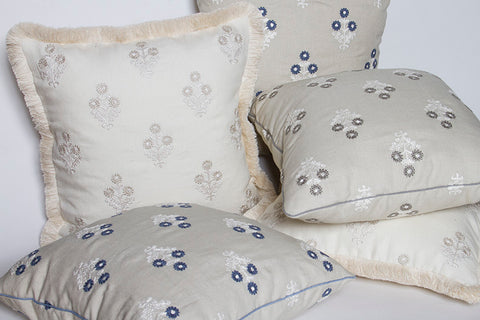 Clarence House Olivia Indigo Embroidered Linen