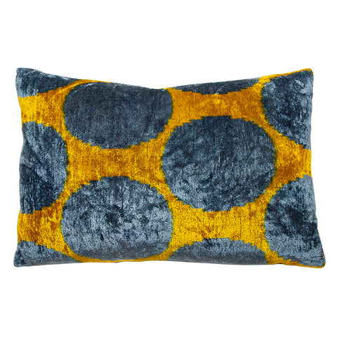 Saffron and Cornflower Silk Velvet Ikat