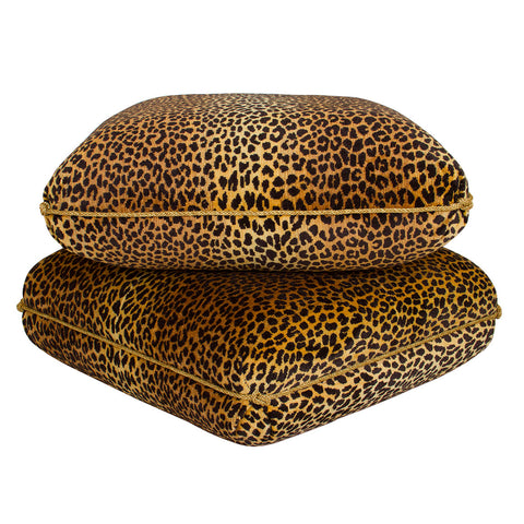 Turkish Ottoman in Leopard Velvet with Knotted Trim