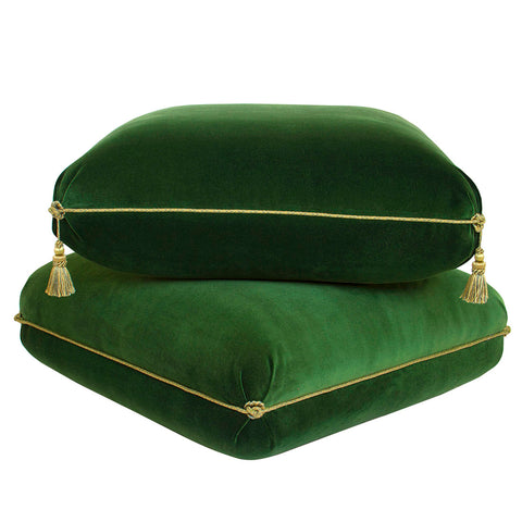 Turkish Ottoman In Solid Velvet with Tassels