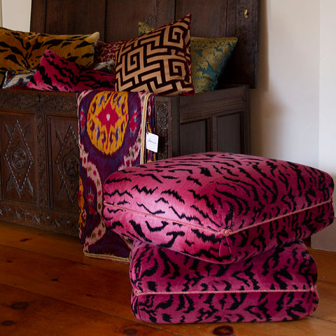 Turkish Ottoman in Pink Tiger Velvet