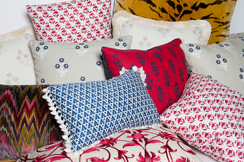 Lisa Fine Rajkot Red and Indigo Linen