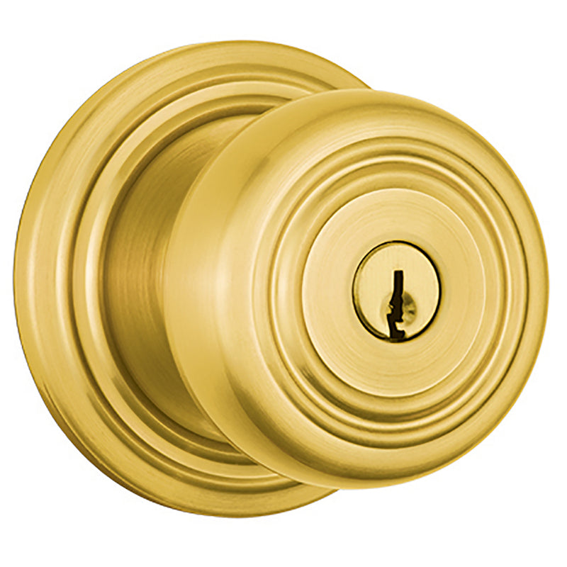 Webley Push Pull Rotate Keyed Entry door knob in Polished Brass