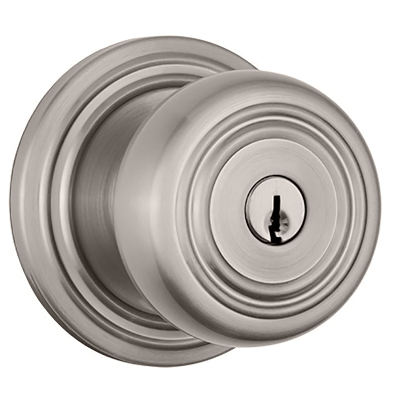 Webley Push Pull Rotate Keyed Entry door knob in Satin Nickel