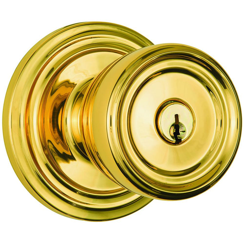 Barrett Push Pull Rotate door knob keyed entry polished brass