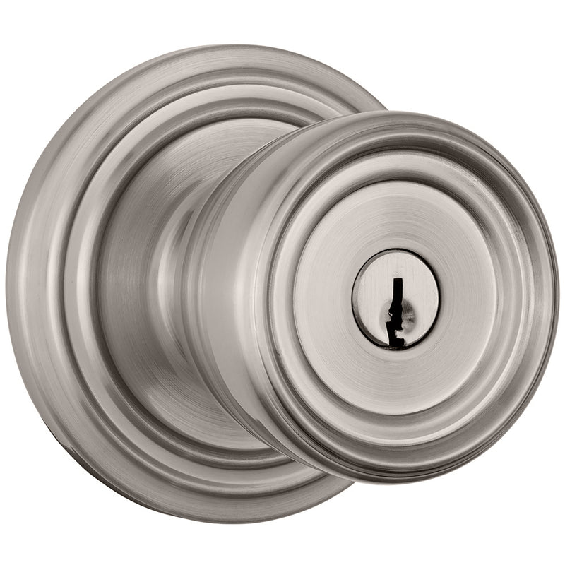Barrett Push Pull Rotate door knob keyed entry satin nickel