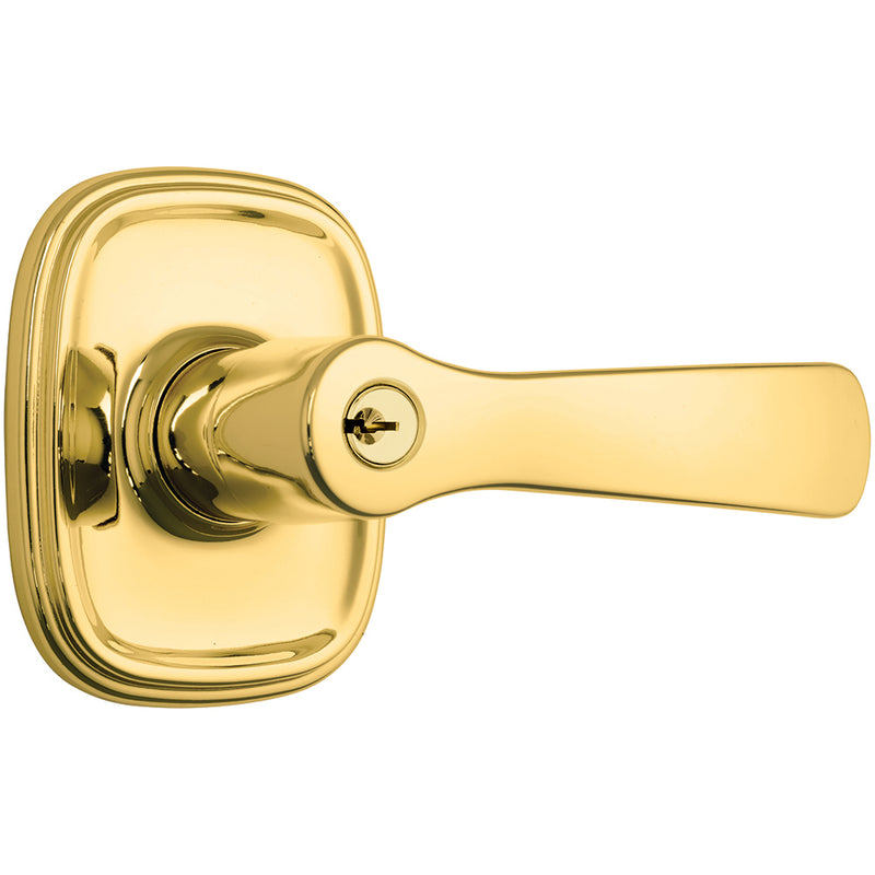 Alwood Push Pull Rotate door lever keyed entry polished brass