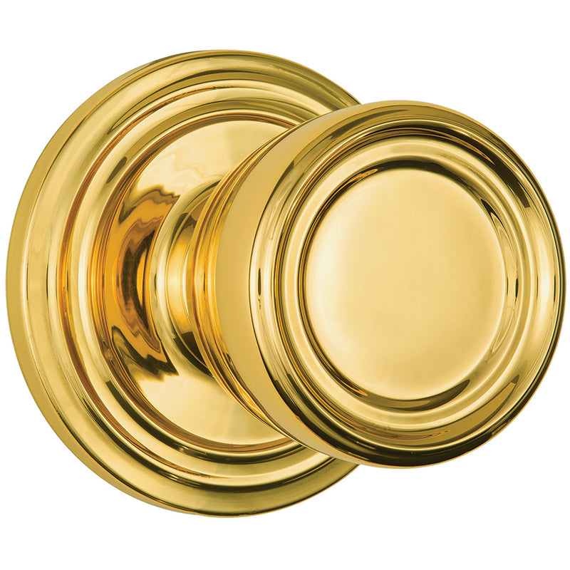 Barrett Push Pull Rotate door knob hall / closet polished brass
