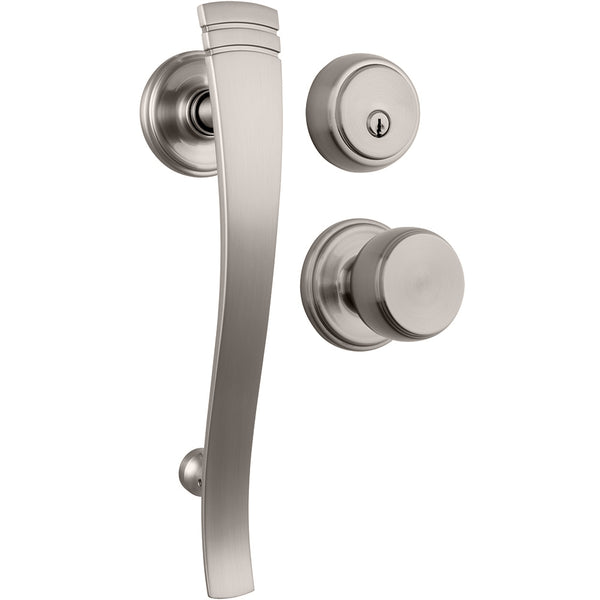 Rhodes Push Pull Rotate handleset with Ganyon interior lever and Amberhall deadbolt in Satin Nickel