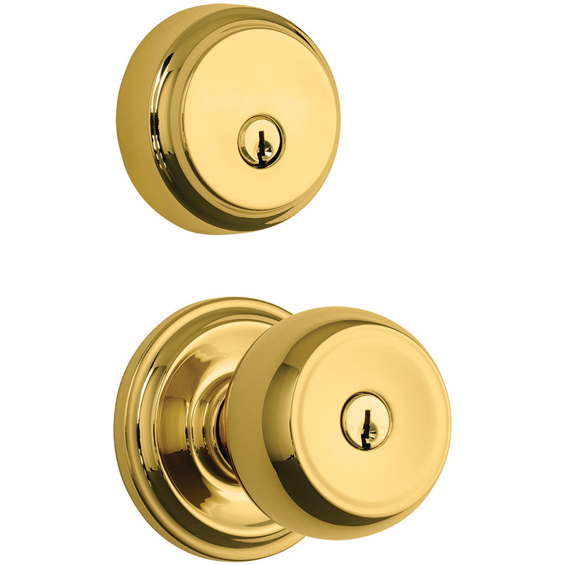 Stafford Push Pull Rotate door knob with Almarrion deadbolt in Polished Brass
