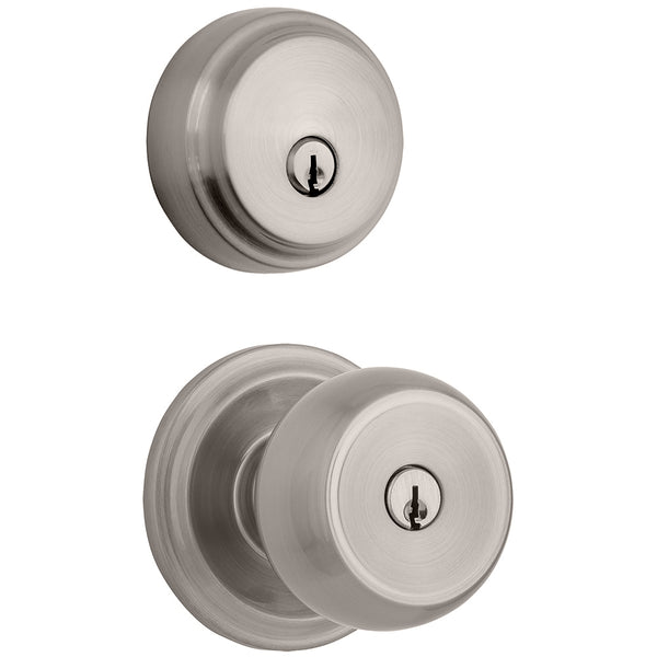Stafford Push Pull Rotate door knob with Almarrion deadbolt in Satin Nickel