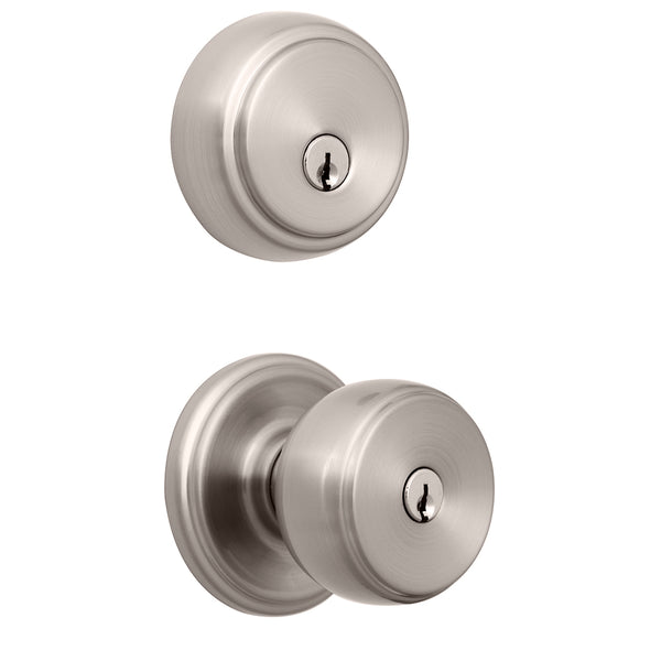 Ganyon Push Pull Rotate keyed entry knob and Amberhall deadbolt satin nickel