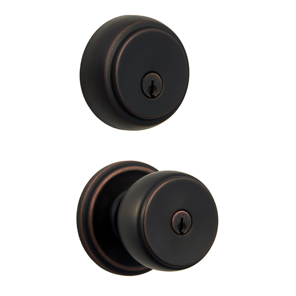 Ganyon Push Pull Rotate keyed entry knob and Amberhall deadbolt tuscan bronze