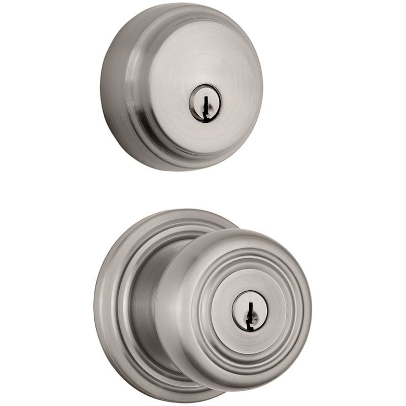 Webley Push Pull Rotate door knob with Almarrion deadbolt in Satin Nickel