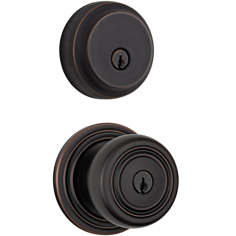 Webley Push Pull Rotate door knob with Almarrion deadbolt in Tuscan Bronze