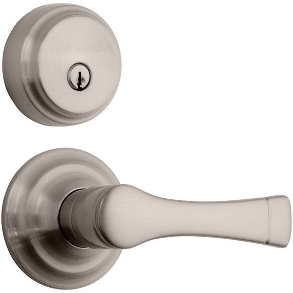 Harper Push Pull Rotate door lever with Almarrion deadbolt in Satin Nickel