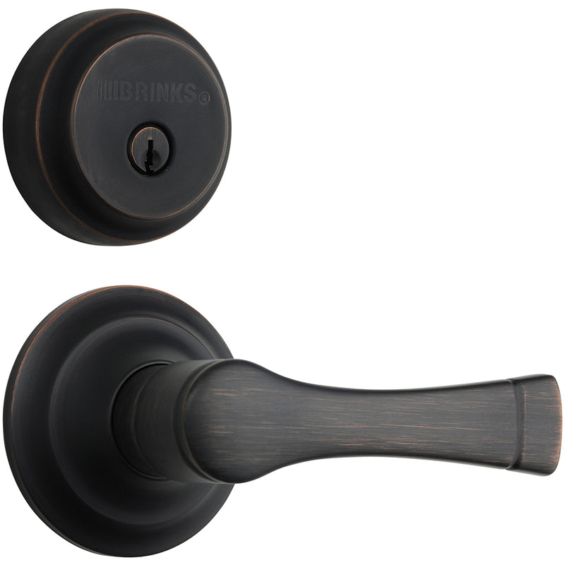 Harper Push Pull Rotate door lever with Almarrion deadbolt in Tuscan Bronze