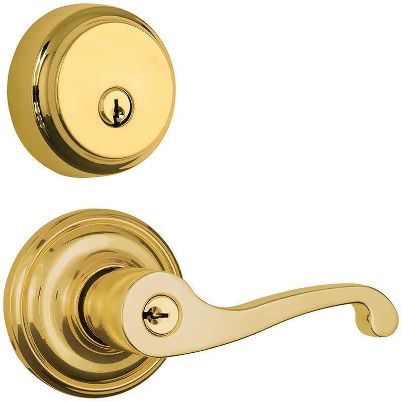 Glenshaw Push Pull Rotate door lever with Almarrion deadbolt in Polished Brass