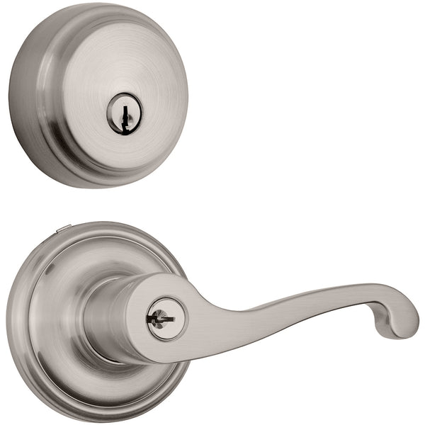 Glenshaw Push Pull Rotate door lever with Almarrion deadbolt in Satin Nickel