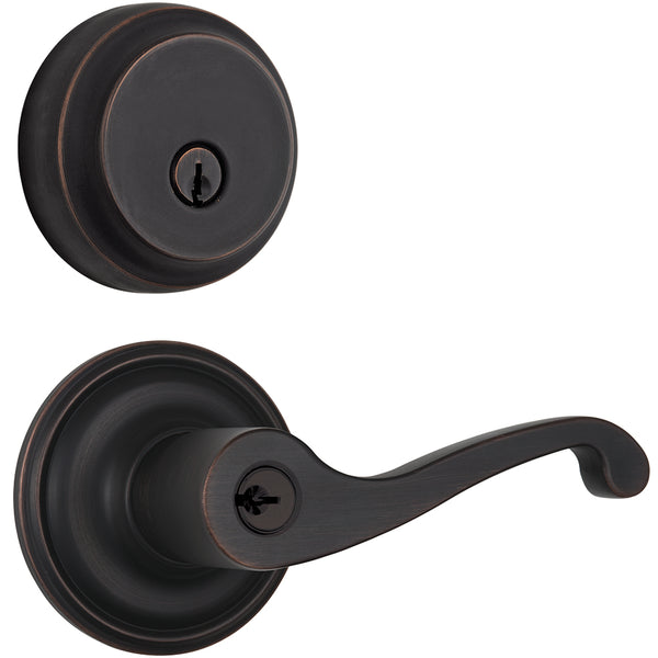 Glenshaw Push Pull Rotate door lever with Almarrion deadbolt in Tuscan Bronze