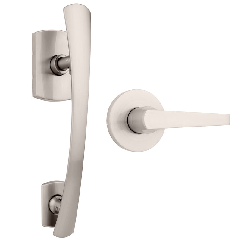 Anderson Push Pull Rotate Handleset with Lexa Interior Lever Satin Nickel