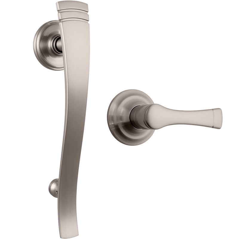 Rhodes Push Pull Rotate handleset with Harper interior lever in Satin Nickel
