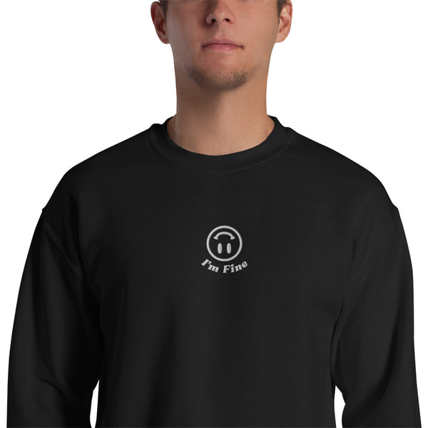 I'm Fine Embroidered Sweatshirt Black