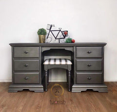Hand painted grey silver metallic pine dressing table and stool unique home pieces Doncaster