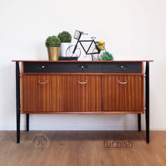 nathan sideboard restored, hand painted, painted black with teak and french polish,  unique home pieces Doncaster,