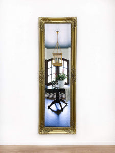 Gold ornate long mirror can be hung horizontally or vertically, height 135 cm width 44 cm frame 7 cm