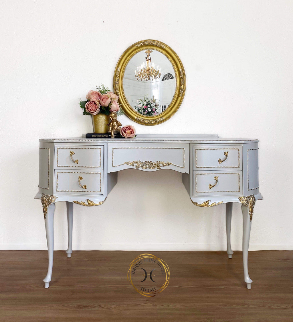 Grey French Louis Olympus Antionette Style Dressing Table Desk - Unique Home Pieces