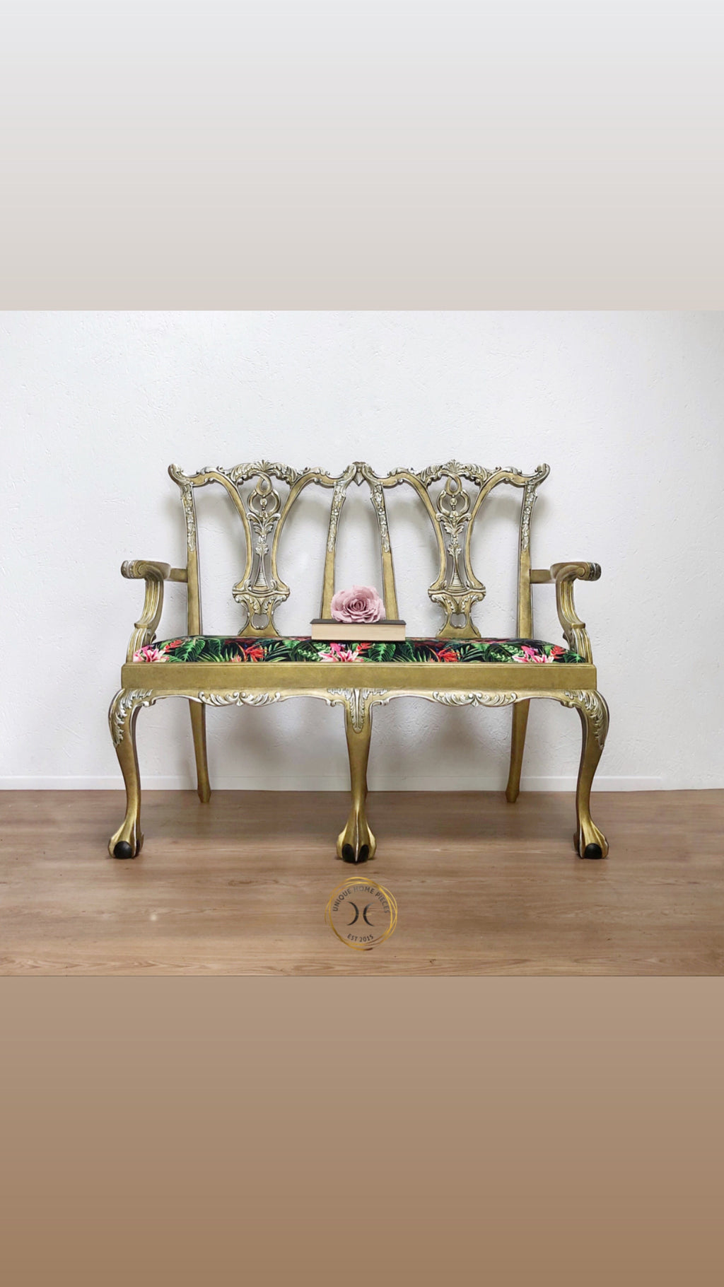 Gold Reproduction Mahogany two Seater Settee - Unique Home Pieces