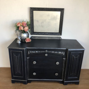 Dark Blue Dressing Table Sideboard Storage - Unique Home Pieces
