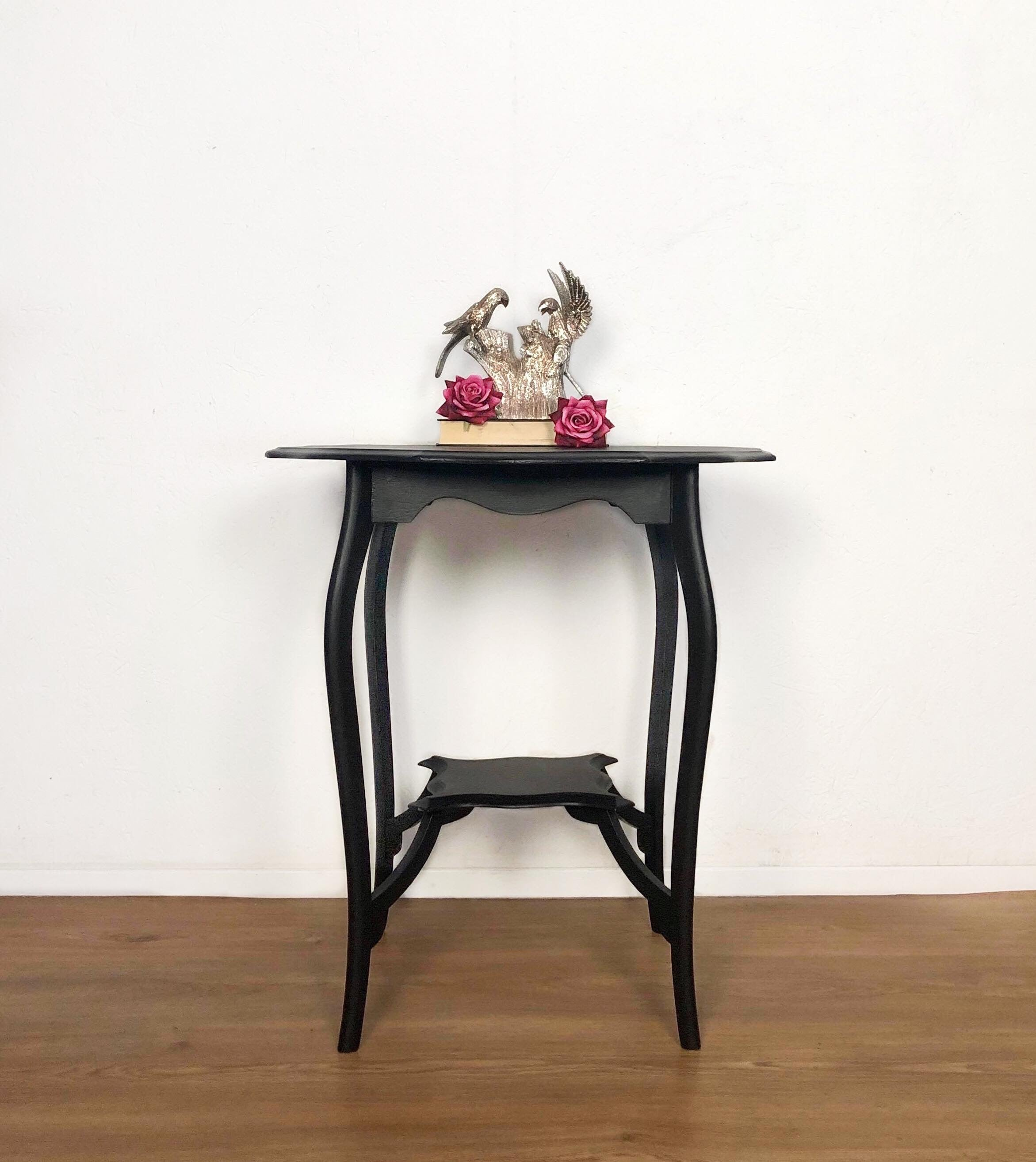 Black Scallop Edged Wood Occasional Side Table - Unique Home Pieces