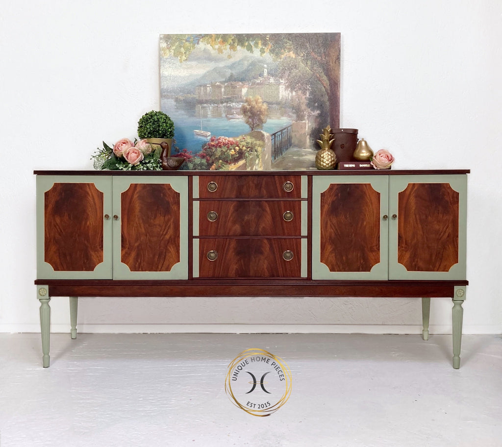 Vintage Teak Walnut Green Painted Sideboard Buffet - Unique Home Pieces