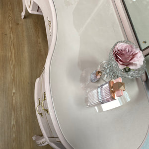 Kidney Shaped Pink Dressing Table With Mirrors & Protection Glass - Unique Home Pieces