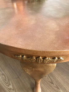 Metallic Copper Gold Coloured Round Coffee Table - Unique Home Pieces