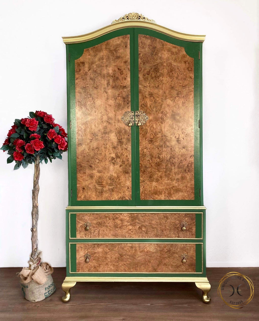 Green Gold Burr Walnut Gentleman wardrobe - Unique Home Pieces