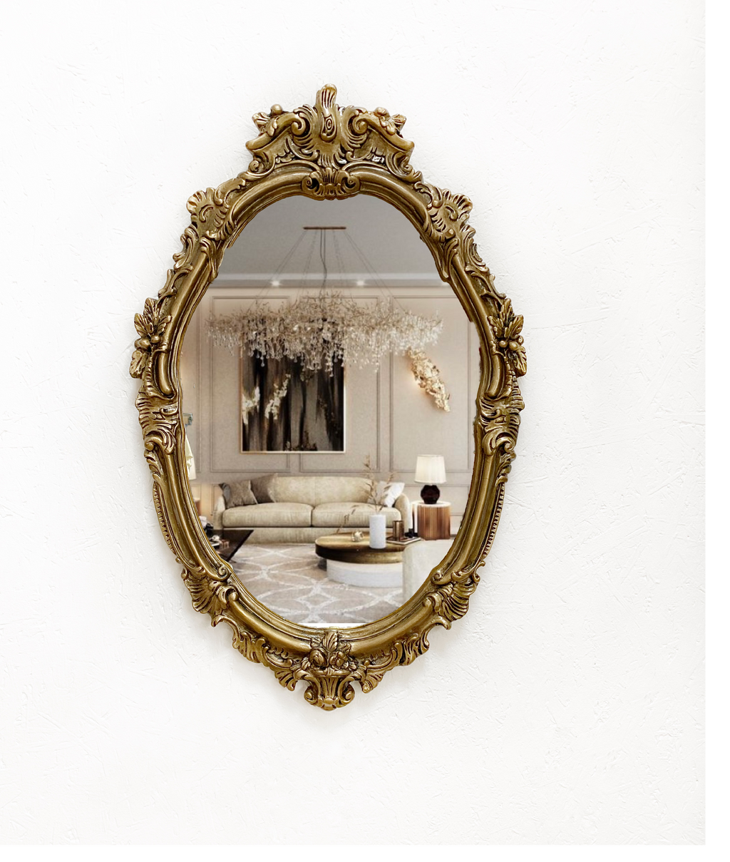 Antique french style gold ornate mirror, in antique gold with a black glaze and sealed with high shine varnish. Height 73 cm width 47 cm depth 4 cm.