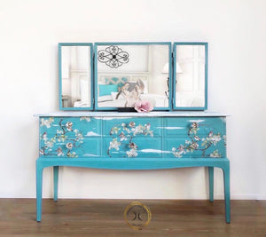 Turquoise Blue Stag Dressing Table & Mirror Set - Unique Home Pieces