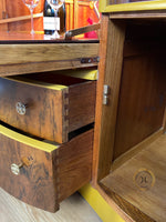 Load image into Gallery viewer, Yellow Walnut Beautility Bar Cocktail Cabinet - Unique Home Pieces