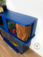 Load image into Gallery viewer, Blue Walnut Art Deco Cocktail Cabinet by Rivington London - Unique Home Pieces
