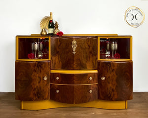 Yellow Walnut Beautility Bar Cocktail Cabinet - Unique Home Pieces