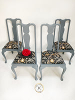 Load image into Gallery viewer, Set of 4 Grey Painted Queen Anne Style Dining Chairs - Unique Home Pieces