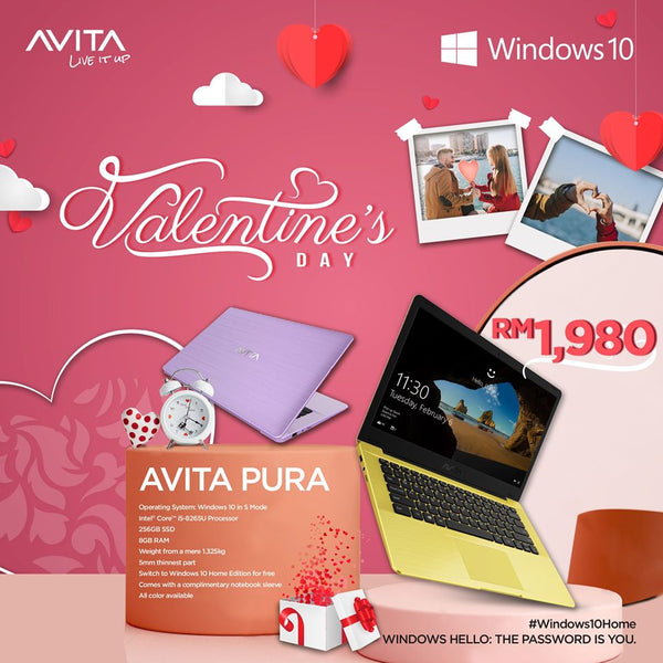 💖 Happy Valentine's Day! 💵 #RM300 Saved! Pre-order the beautiful AVITA Pura i5 at only RM1980 right now! 🤟