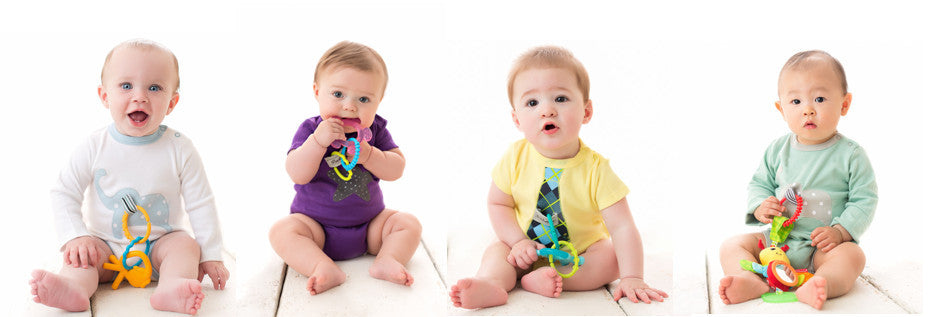 BEST in adorable organic baby bodysuits that also function as baby's toy, teether, and pacifier keeper!