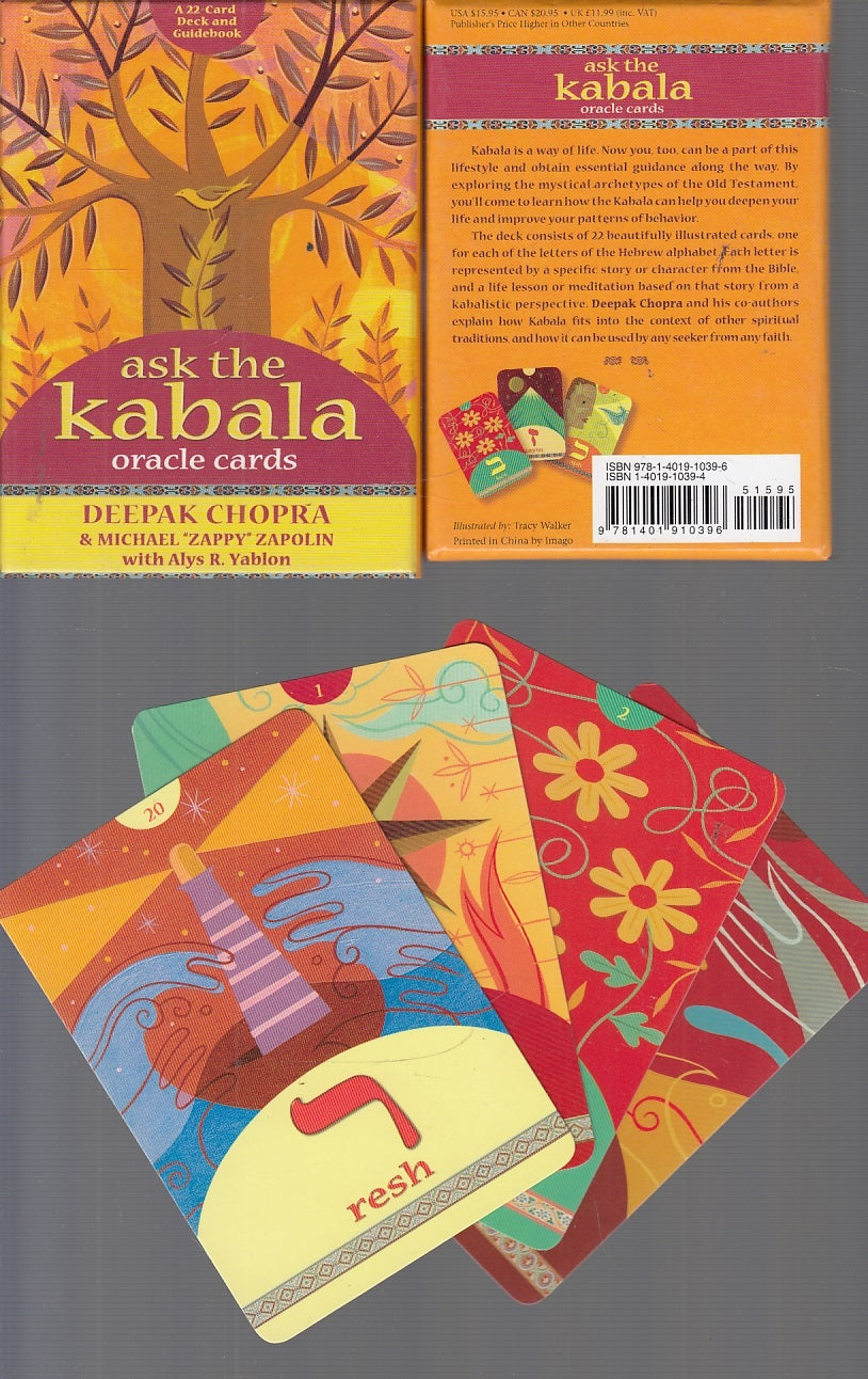 LZ- ASK THE KABALA ORACLE CARDS 22 CARDS + GUIDE BOOK- CHOPRA---- 2006- B- XFS30