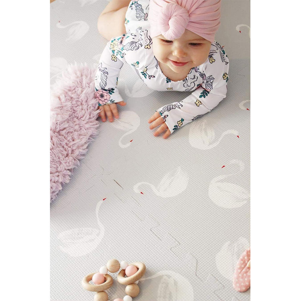 Baby Playing on Swan Grey Playmat
